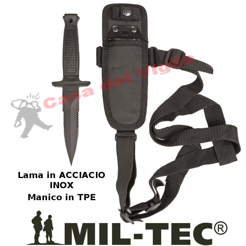 Coltello Tascabile POLICE Assault Assalto Lama Nera Acciaio INOX 440 MANICO G10