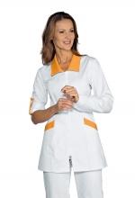Casacca Tortola – colore BIANCO + ALBICOCCA – con Cerniera ZIP – manica con bottoncino – estetico – sanitario – infanzia – ISACCO