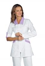 Casacca Tortola – colore BIANCO + LILLA – con Cerniera ZIP – manica con bottoncino – estetico – sanitario – infanzia – ISACCO