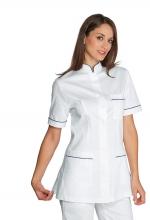 Casacca Panarea colore BIANCO con inserti BLU CINA – 100% Cotone – sanitario – medicale – estetico – alimentare – servizi – ISACCO