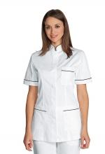 Casacca Panarea colore BIANCO con inserti NERI – 100% Cotone – sanitario – medicale – estetico – alimentare – servizi – ISACCO