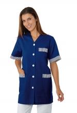 Casacca DONNA Dacca Mezza Manica – colore BLU con inserti a RIGHE BIANCHE – Collo a V – estetica - sanitario – alimentare – servizi – ISACCO