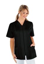 Casacca Victoria – colore NERO – con Cerniera ZIP e Manica Corta – estetica – sanitaria – medicale – servizi – ISACCO