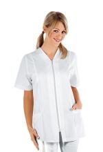 Casacca Victoria – colore BIANCO – 100% Cotone – con Cerniera ZIP e Manica Corta – estetica – sanitaria – medicale – servizi – ISACCO