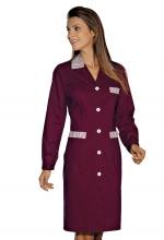 Camice Positano – colore BORDEAUX con inserti a righe Bianche e Bordeaux – sanitario – alberghiero – estetico – pulizie – ISACCO