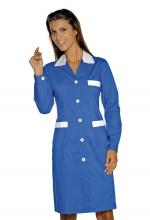Camice Positano – colore BLU CINA con inserti BIANCHI – sanitario – alberghiero – estetico – pulizie – ISACCO