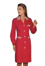 Camice Positano – colore ROSSO con inserti a righe Bianche e Rosse – sanitario – alberghiero – estetico – pulizie – ISACCO