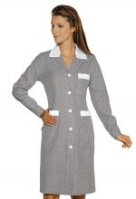 Camice Positano – colore RIGHE NERE e BIANCHE con inserti BIANCHI 100% Cotone – sanitario – alberghiero – estetico – pulizie – ISACCO