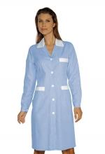 Camice Positano – colore RIGHE AZZURRE e BIANCHE con inserti BIANCHI 100% Cotone – sanitario – alberghiero – estetico – pulizie – ISACCO