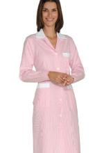 Camice Positano – colore RIGHE ROSA e BIANCHE con inserti BIANCHI 100% Cotone – sanitario – alberghiero – estetico – pulizie – ISACCO