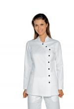Casacca DONNA Nizza colore BIANCO - con Bottoni Laterali – Cotone e Poliestere – estetico – medicale – servizi ISACCO