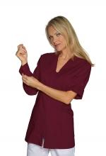 Casacca DONNA Benidorm colore BORDEAUX – chiusura a ZIP cerniera e Bottoni ai polsi – medicale – sanitario – estetico – alimentare – servizi – ISACCO