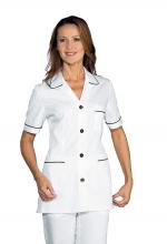 Casacca DONNA Ginevra Mezza Manica colore BIANCO con Filetti e Bottoni NERI – sanitario – medicale – infermieristico – estetico – ISACCO
