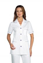 Casacca DONNA Ginevra Mezza Manica colore BIANCO con Filetti e Bottoni LILLA – sanitario – medicale – infermieristico – estetico – ISACCO