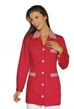 Casacca DONNA Marbella – colore ROSSO e RIGHE BIANCHE – sanitario – medicale – infermieristico – estetico – alimentare – ISACCO
