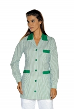 Casacca DONNA Marbella – colore a RIGHE VERDI e inserti in VERDE – sanitario – medicale – infermieristico – estetico – alimentare – ISACCO