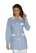 Casacca DONNA Marbella – colore a RIGHE CELESTI e inserti in BIANCO – sanitario – medicale – infermieristico – estetico – alimentare – ISACCO