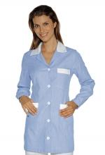 Casacca DONNA Marbella Rigatino – colore a RIGHE CELESTI e inserti in BIANCO – 100% Cotone – sanitario – medicale – infermieristico – estetico – alimentare – ISACCO