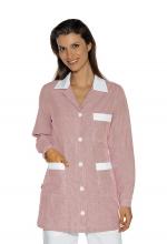 Casacca DONNA Marbella – colore a RIGHE BORDEAUX e inserti in BIANCO – 100% Cotone - sanitario – medicale – infermieristico – estetico – alimentare – ISACCO