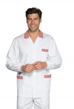 Casacca Peter – colore BIANCO con inserti a RIGHE ROSSE – 100% Cotone – medicale – estetico – sanitario – alimentare – ISACCO