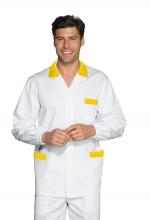 Casacca Peter – colore BIANCO con inserti a RIGHE GIALLE – 100% Cotone – medicale – estetico – sanitario – alimentare – ISACCO