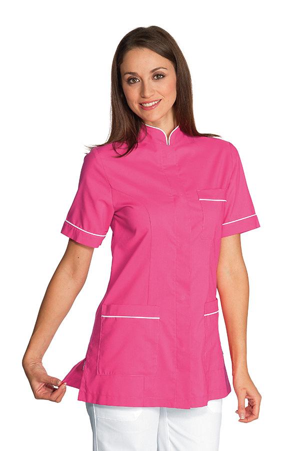Casacca Panarea colore FUXIA con inserti BIANCHI – sanitario – medicale –  estetico – alimentare – servizi – ISACCO 803df0a4f21d